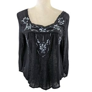 Free People Black & White Bed of Roses Top XS